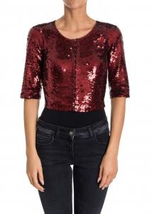 P.A.R.O.S.H. Sequin Cardigan Red
