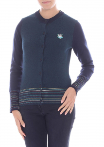 Kenzo Green Cardigan With Multicolor Edges Blue