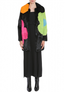 LOVE Moschino Long Fur Coat MULTICOLOUR