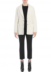 Alexander McQueen Double Breasted Coat WHITE