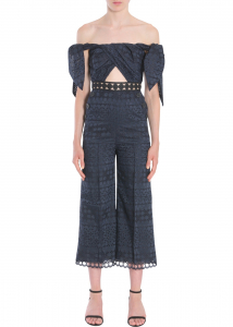 Self-Portrait Embroidered Jumpsuit BLUE