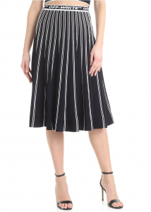 Off-White Pleated Skirt In Black With White Stripes Black