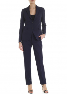 Tagliatore Blue Suit With Stitching Blue
