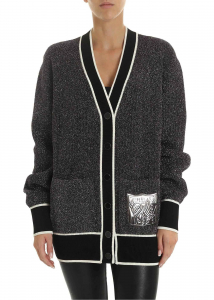 Off-White Cardigan In Silver Lamé Silver
