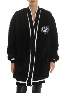 Off-White Varsity College Cardigan In Black Black