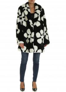 MCQ Alexander McQueen Eco-Fur Coat In Black With White Print Black