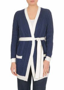 Elisabetta Franchi Braided And Contrasted Edges Cardigan In Blue Blue