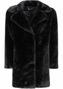 P.A.R.O.S.H. Eco Fur Coat In Black Black