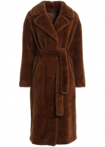 P.A.R.O.S.H. Eco Fur Long Coat In Brown Brown