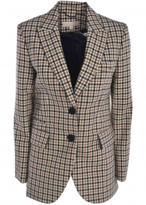 Michael Kors Checked Print Jacket In Ivory Color And Brown Multi