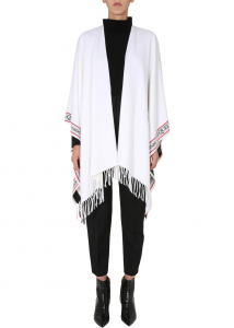 Alexander McQueen Cape With Logo WHITE