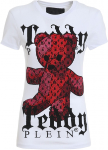Philipp Plein Round Neck Ss Monogram Teddy T-Shirt In White Black