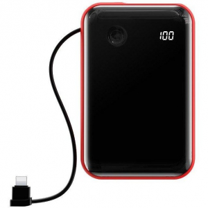 Baterie externa portabila cu cablu Lightning Mini S Digital Display 10000 mAh Red