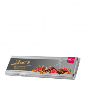 SILVER TABLET DARK CHOCOLATE WITH ALMONDS RASPBERRIES AND CRANBERRIES 300gr
