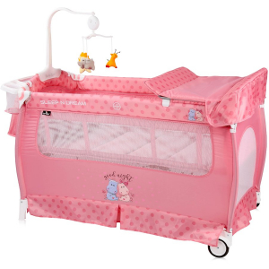 Patut pliabil 10080312076 Sleep n Dream 2 nivele Pink Hippo