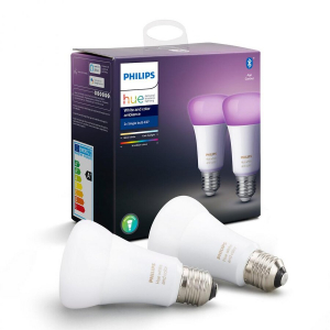 Set 2 becuri inteligente LED Hue functionalitate Bluetooth Ambianta alba/color E27 9W(60W) temperatura de culoare 2200K-6500K
