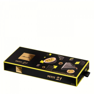 DARK CHOC SQUARED FILLED WITH CARAMEL PASSIONFRUIT AND BLACK SESAME 110gr