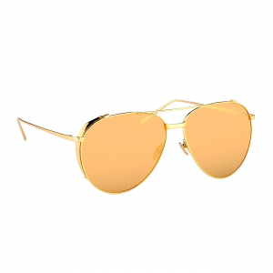 LINDA FARROW LFL425C1SUN SUNGLASSES WITH A FRAME MADE OF TITANIUM IN GOLD AND LENSES MADE OF CRIDAL LP/LI