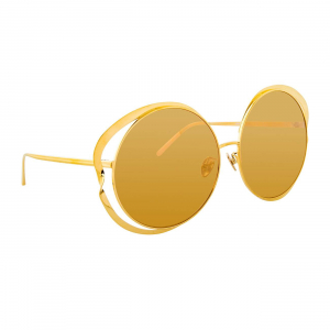 LINDA FARROW LFL660C1SUN SUNGLASSES WITH A FRAME MADE OF TITANIUM IN GOLD AND LENSES MADE OF CRIDAL