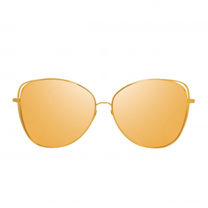 LINDA FARROW LFL566C1 SUNGLASSES WITH A FRAME MADE OF TITANUIM IN YELLOW GOLD AND LENSES MADE OF CRI