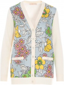 Tory Burch Floral Inserts White Wool Cardigan White