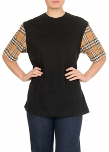 Burberry T-Shirt In Black With Vintage Check Details Black