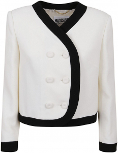 Moschino Virgin Wool Cropped Suit Jacket In White White