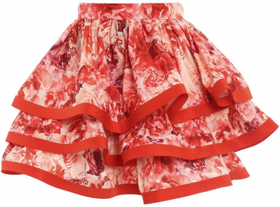 Elisabetta Franchi Maxi Ruffle Floral Skirt In Red Red