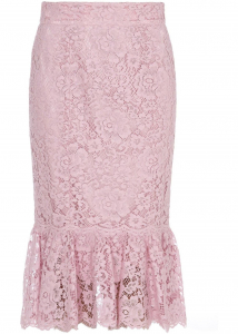 Dolce & Gabbana Lace Longuette Skirt In Pink Pink