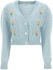 Alessandra Rich Short Cardigan With Embroideries FAB2507 K3212 LIGHT BLUE