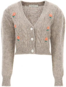 Alessandra Rich Short Cardigan With Embroideries FAB2507 K3212 GREY