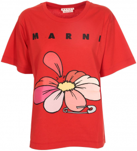 Marni Flower Printed T-Shirt In Red THJEL32EPTUSCR1400R66 Red