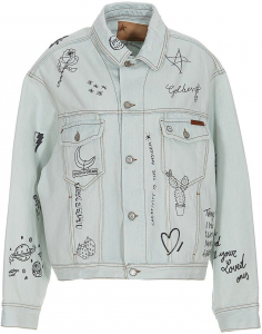 Golden Goose 8390418-59975313 Golden Goose Printed Denim Jacket In Light Blue GWP00602P00040450100 Light Blue