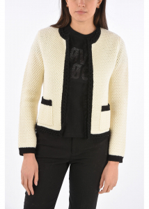 RED VALENTINO Virgin Wool Cable Knit Cardigan with Tulle Trimmings WHITE
