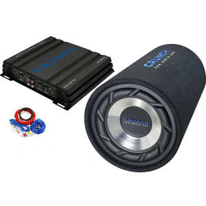Pachet subwoofer auto Crunch GTS 250  250W RMS + amplificator Crunch GPX 500.2  2 canale  250W + Kit cablu 10 mm2