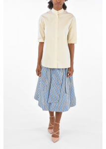 Tory Burch Printed a-line skirt with belt BLUE